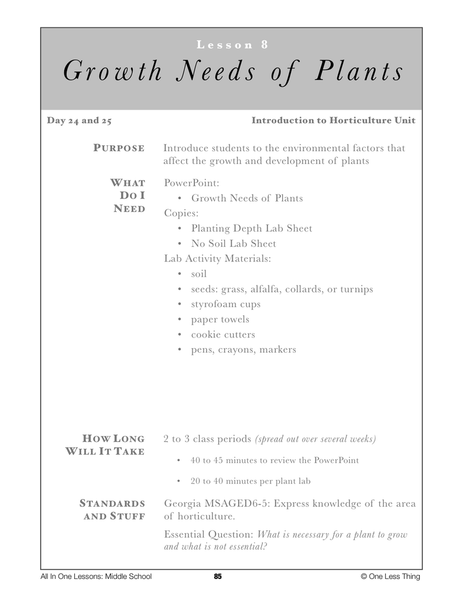6-08 Growth Needs of Plants, Lesson Plan Download