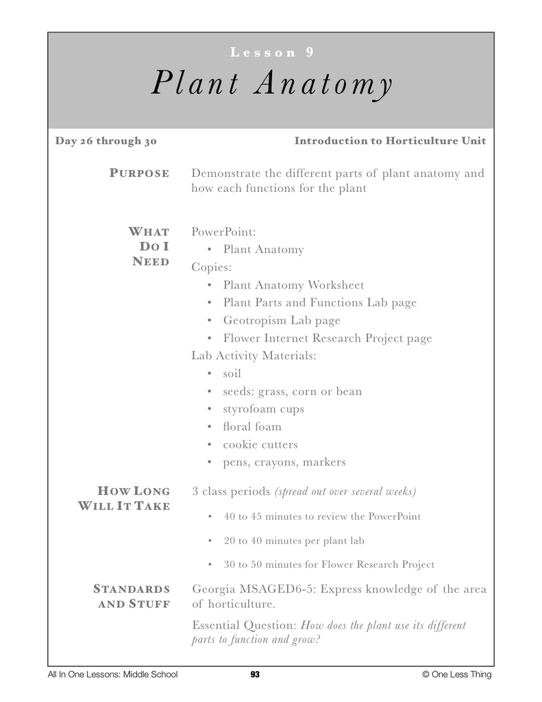6-09 Plant Anatomy, Lesson Plan Download