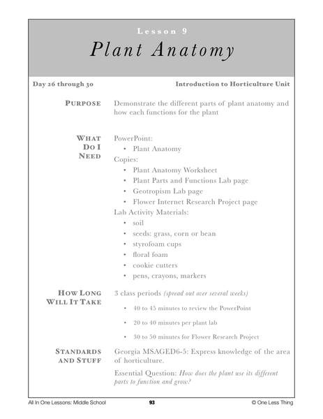 8 08 Plant Parts And Functions Lesson Plan Download One Less Thing