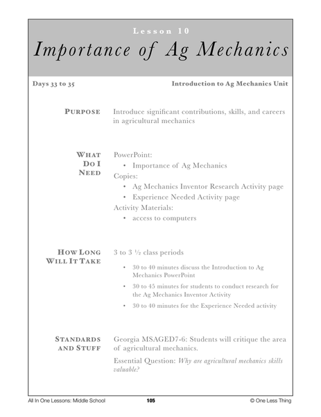 7-10 Importance of Ag Mechanics, Lesson Plan Download