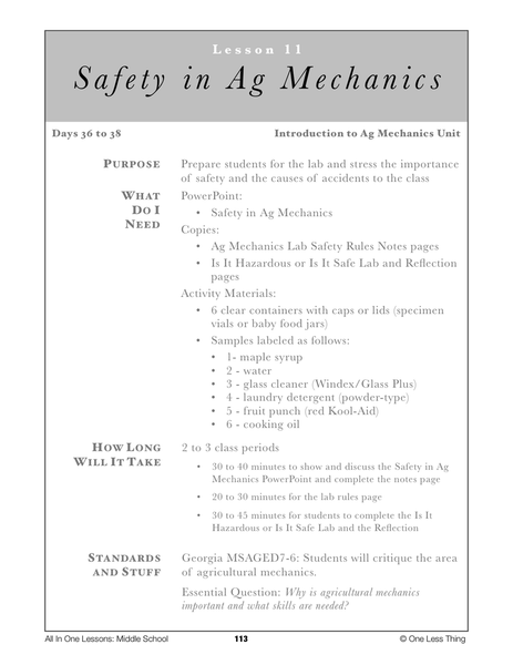7-11 Intro to Safety in Ag Mechanics, Lesson Plan Download