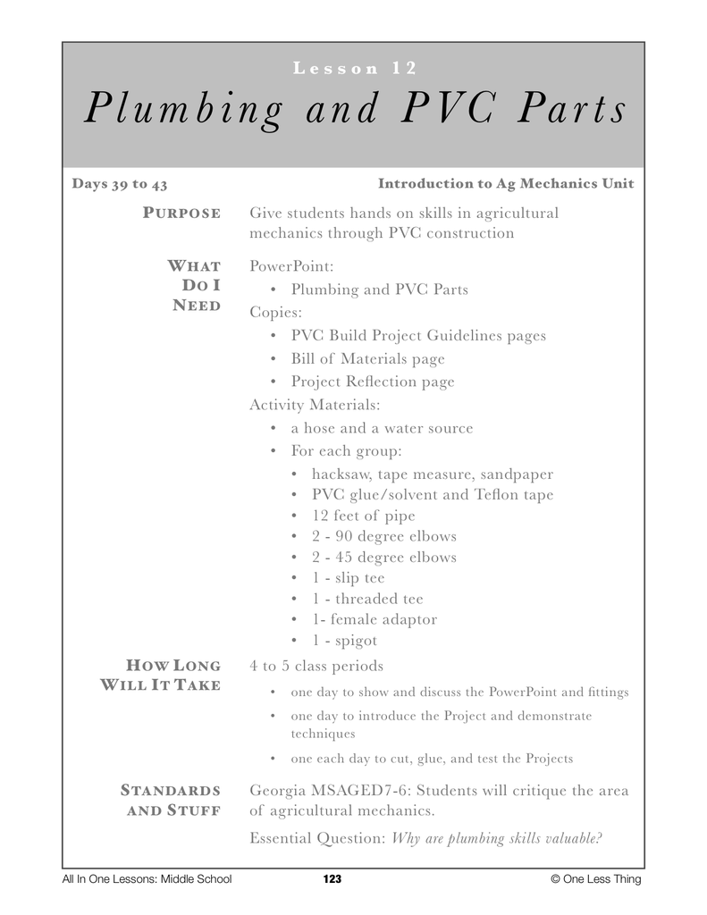 7-12 Intro to PVC and Plumbing, Lesson Plan Download