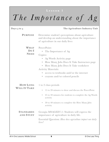 7-01 Importance of Ag, Lesson Plan Download