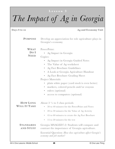 7-03 Impact of Ag in Georgia, Lesson Plan Download