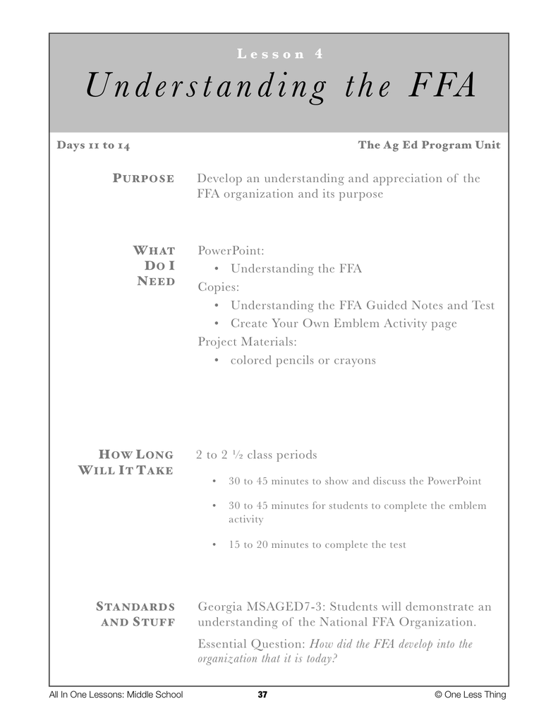 7-04 Understanding the FFA, Lesson Plan Download