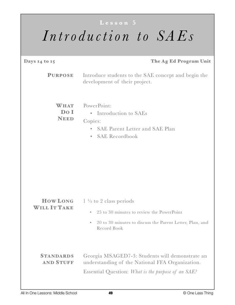 7-05 Intro to SAEs, Lesson Plan Download