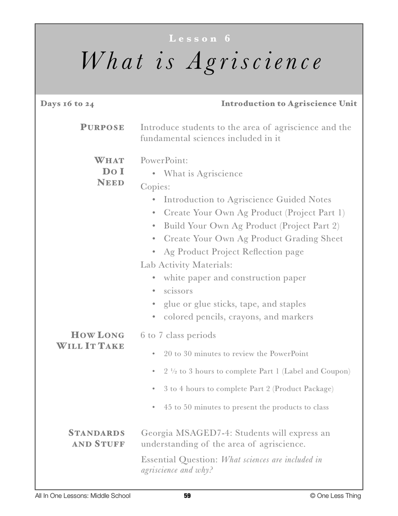 7-06 What is Agriscience, Lesson Plan Download