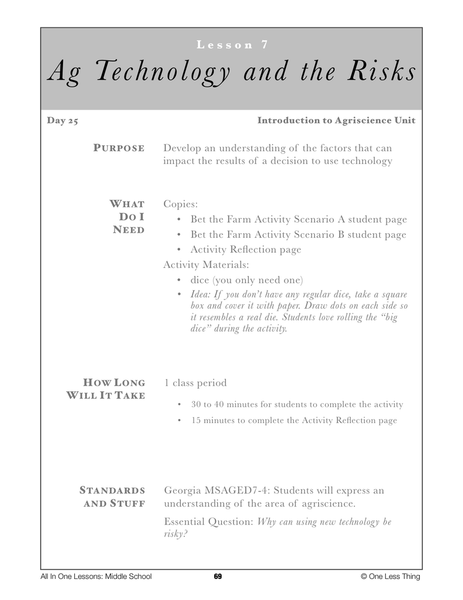 7-07 Ag Technology and Risk, Lesson Plan Download