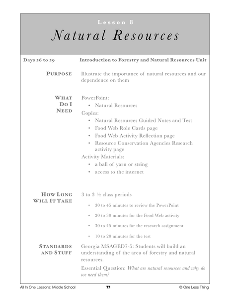 7-08 Intro to Natural Resources, Lesson Plan Download