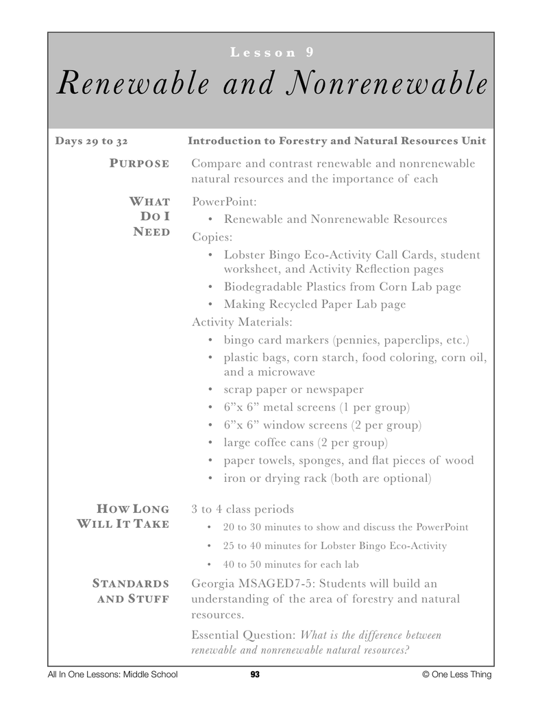 7-09 Renewable and NonRenewable Resources, Lesson Plan Download