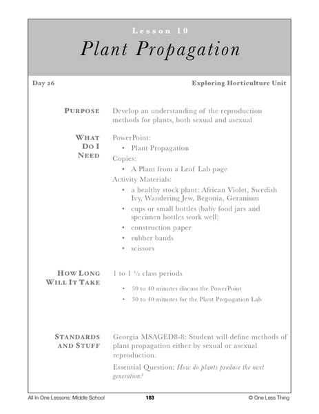 8-10 Plant Propagation, Lesson Plan Download