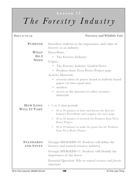 8-11 The Forestry Industry, Lesson Plan Download