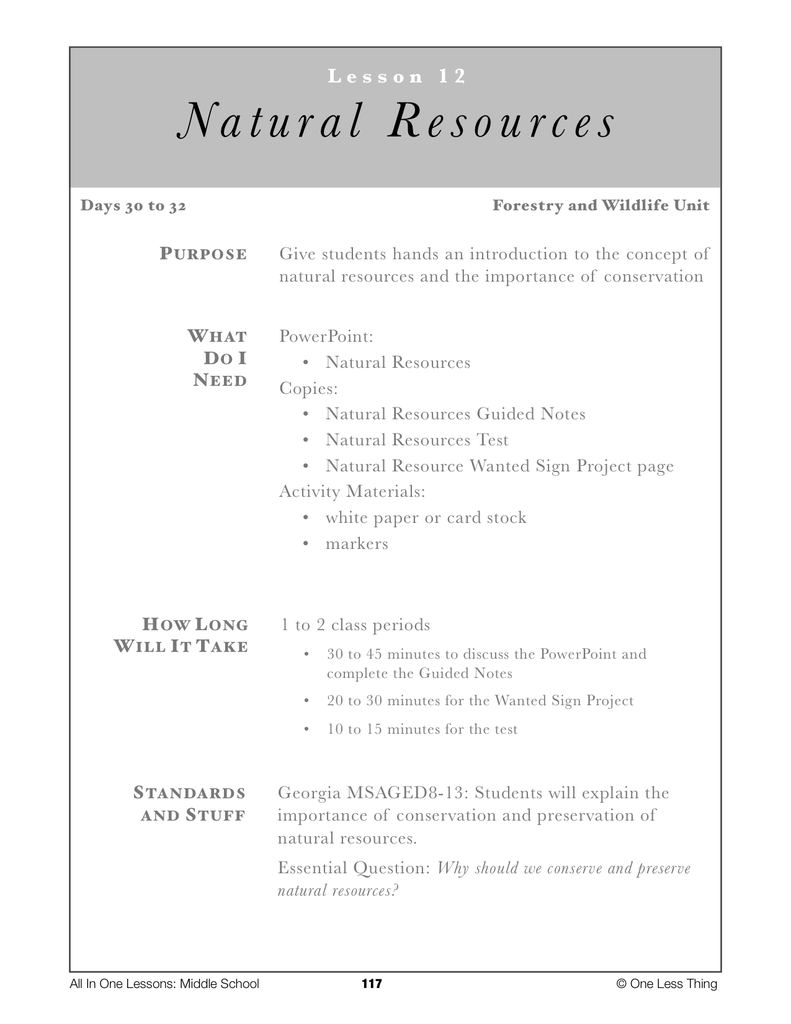 8 12 Natural Resources Lesson Plan Download