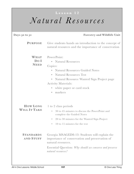 8-12 Natural Resources, Lesson Plan Download