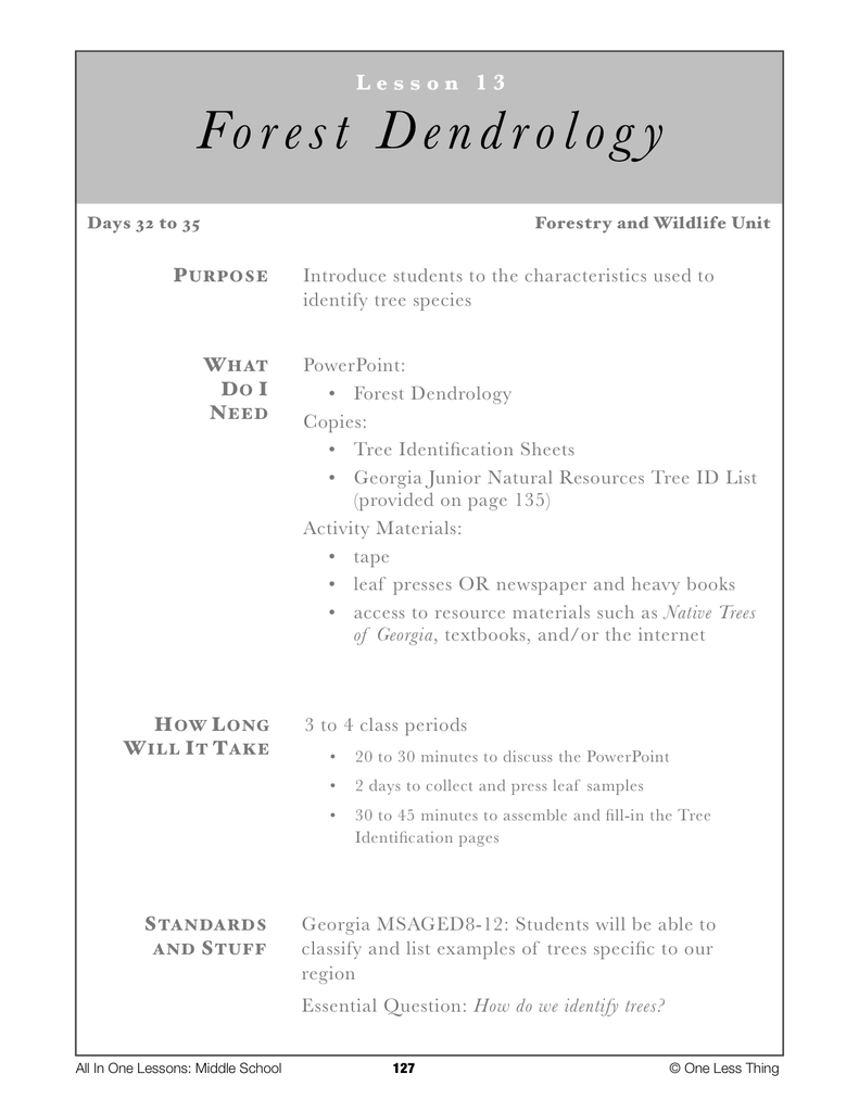 8-13 Forest Dendrology, Lesson Plan Download