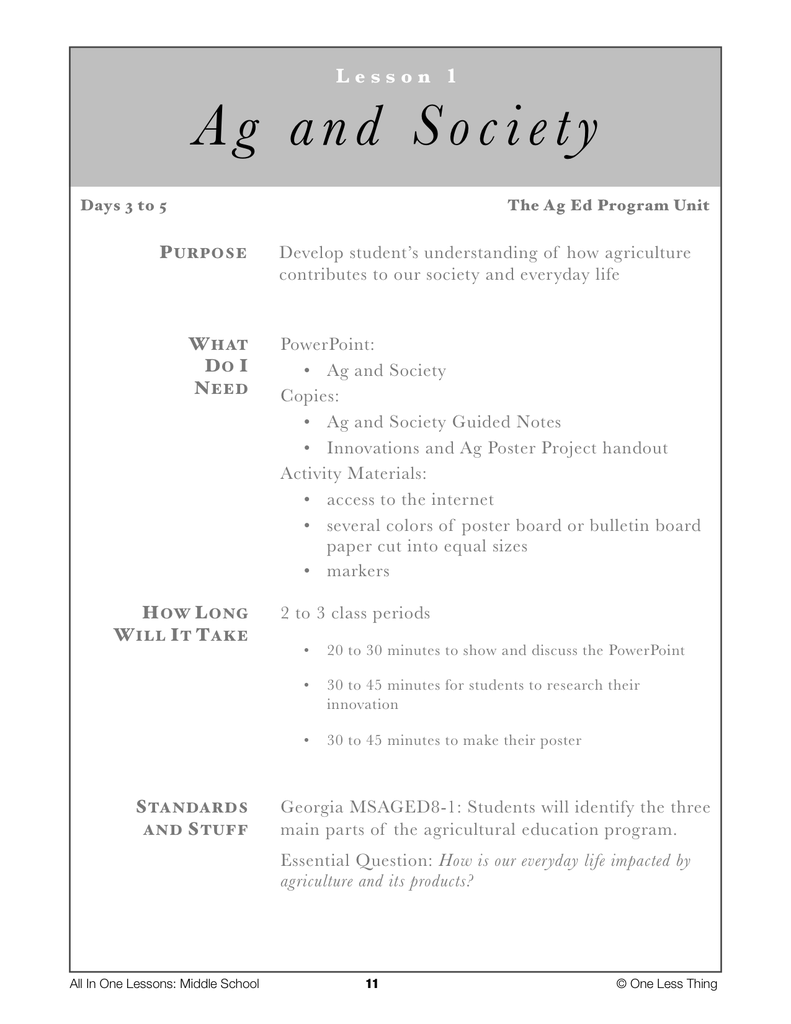 8-01 Ag and Society, Lesson Plan Download