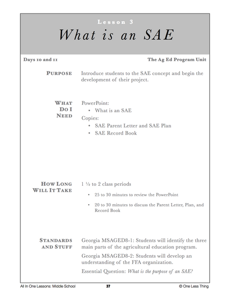 8-03 What is an SAE, Lesson Plan Download