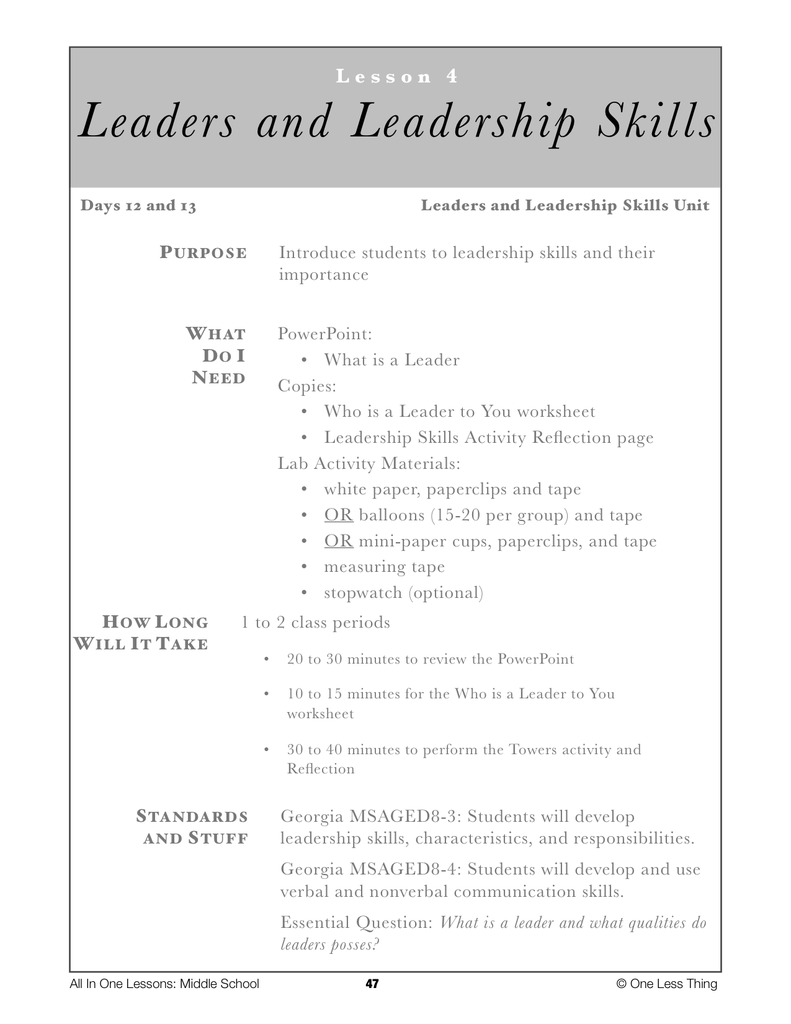 Worksheets Leadership Worksheets 8 04 leaders and leadership lesson plan download one less thing download