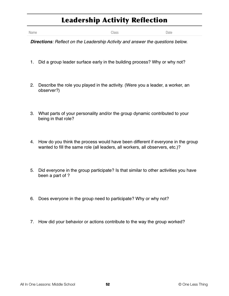 8-04 Leaders and Leadership, Lesson Plan Download ...