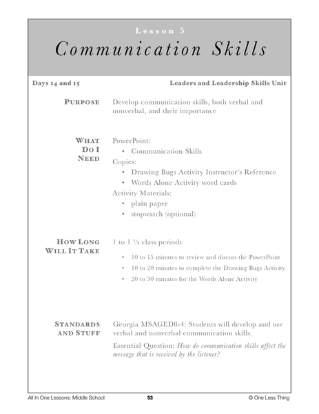 8-05 Communication Skills, Lesson Plan Download