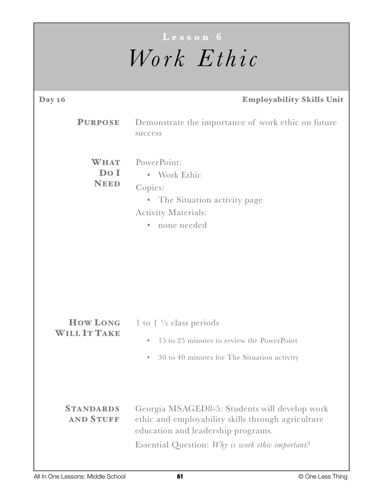 8 06 work ethic lesson plan one less thing 8 06 work ethic lesson plan