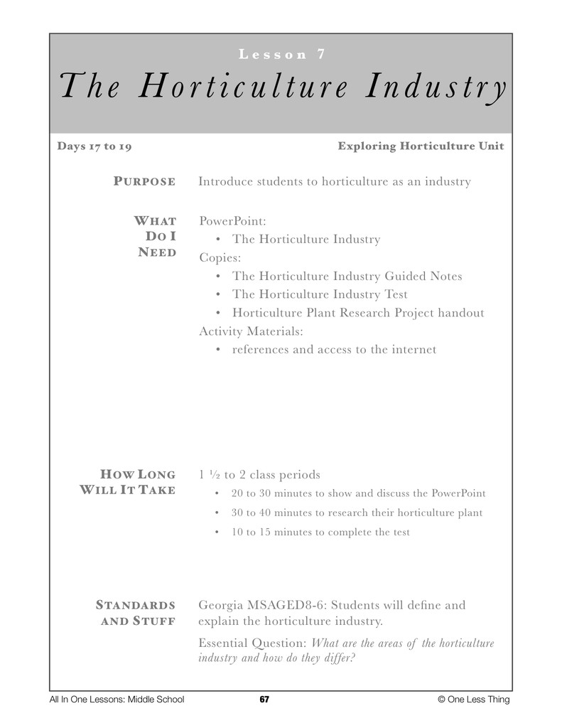 Worksheets Horticulture Worksheets 8 07 horticulture industry lesson plan download one less thing download