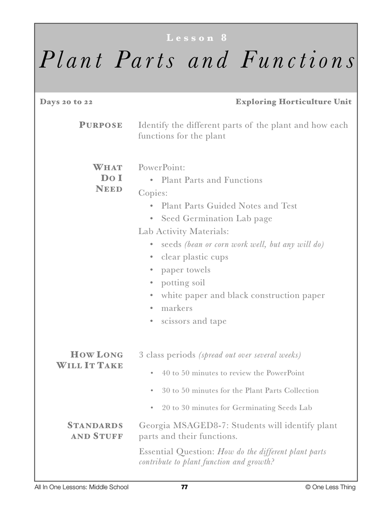 8-08 Plant Parts and Functions, Lesson Plan Download