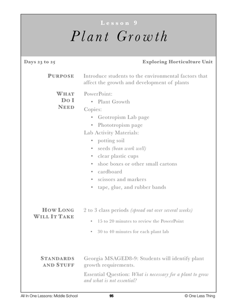 8-09 Plant Growth, Lesson Plan Download