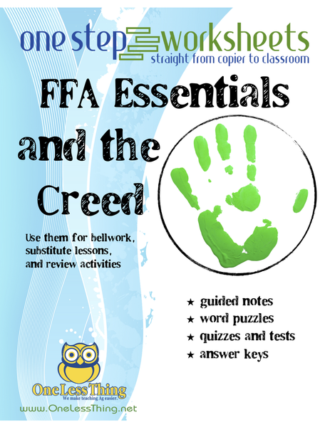FFA Basics & The Creed, One Step Worksheet Downloads
