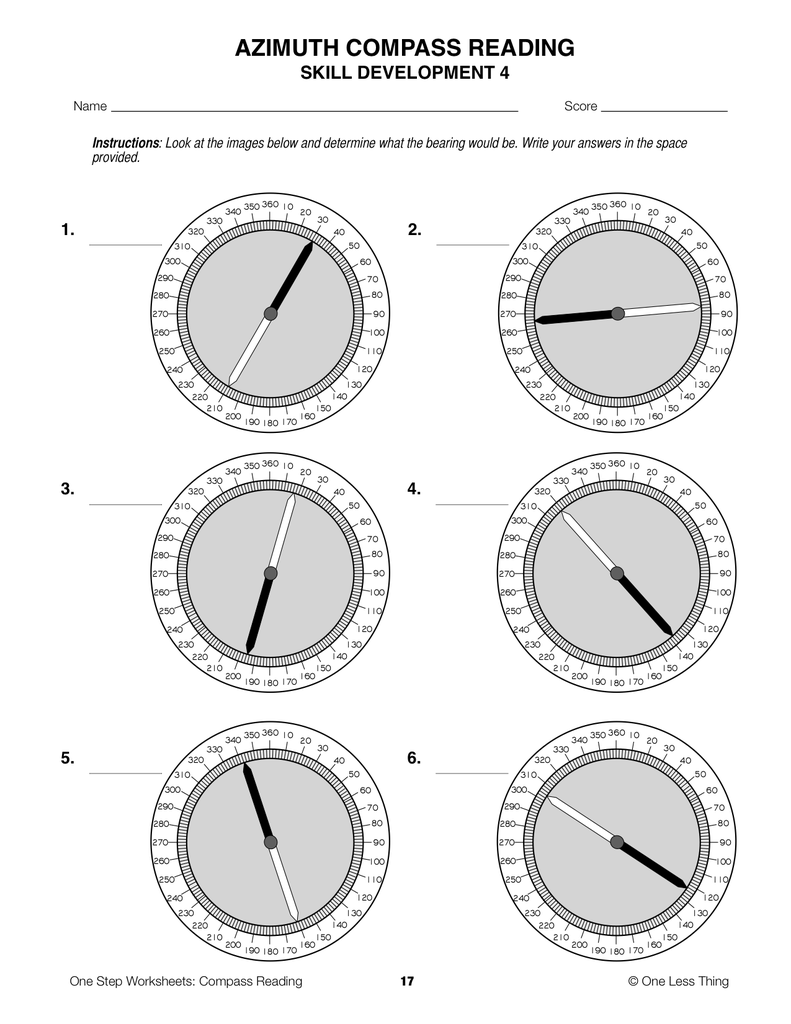Compass Reading, One Step Worksheet Downloads