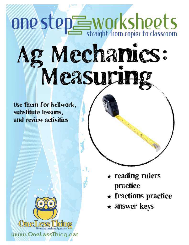 Measuring One Step Worksheets One Less Thing – Measurement Practice Worksheet