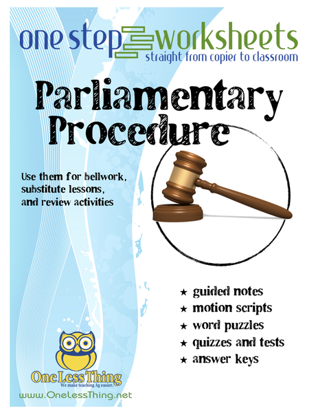Parliamentary Procedure, One Step Worksheet Downloads