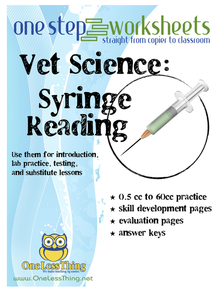Syringe Reading, One Step Worksheets