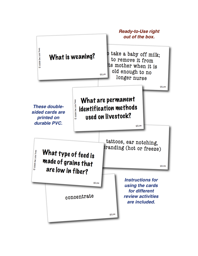 Livestock Management, Quick Cards