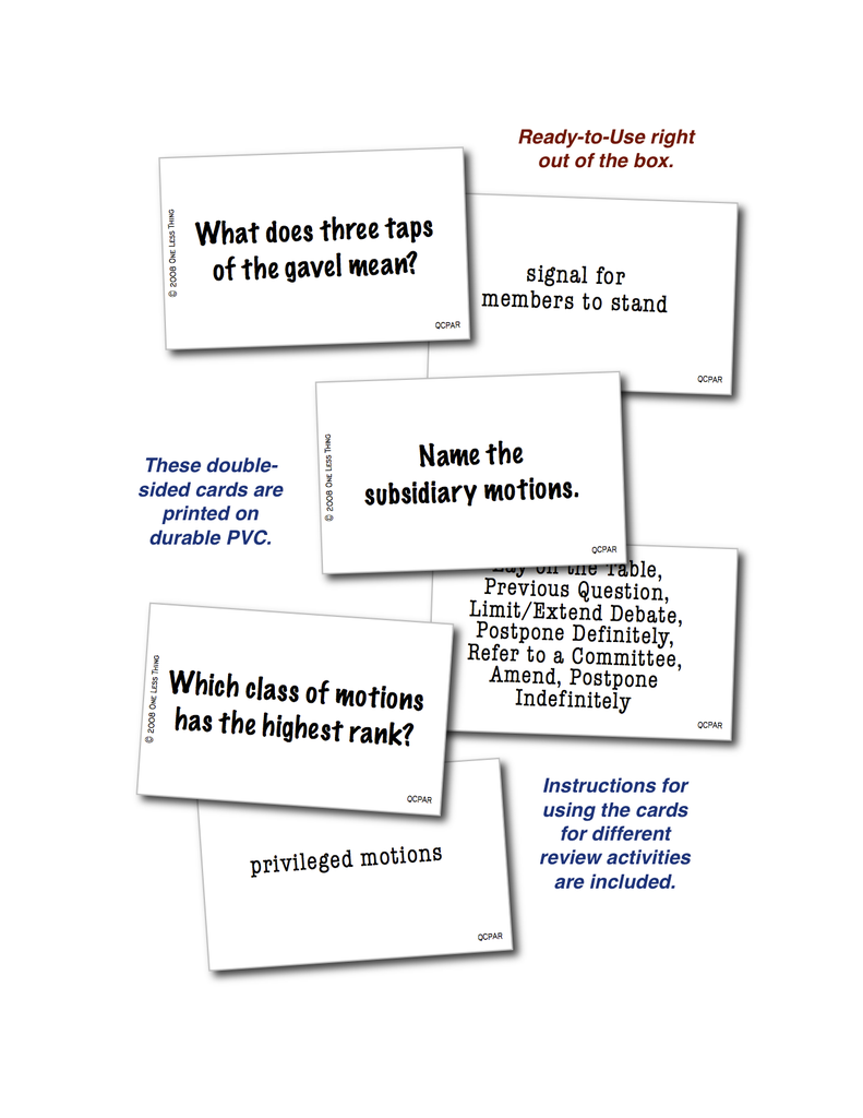 Parliamentary Procedure Quick Cards, Digital download