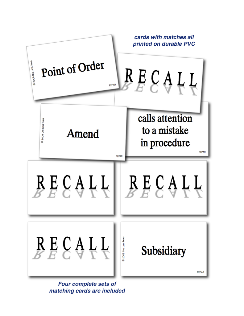 Parliamentary Procedure, Recall
