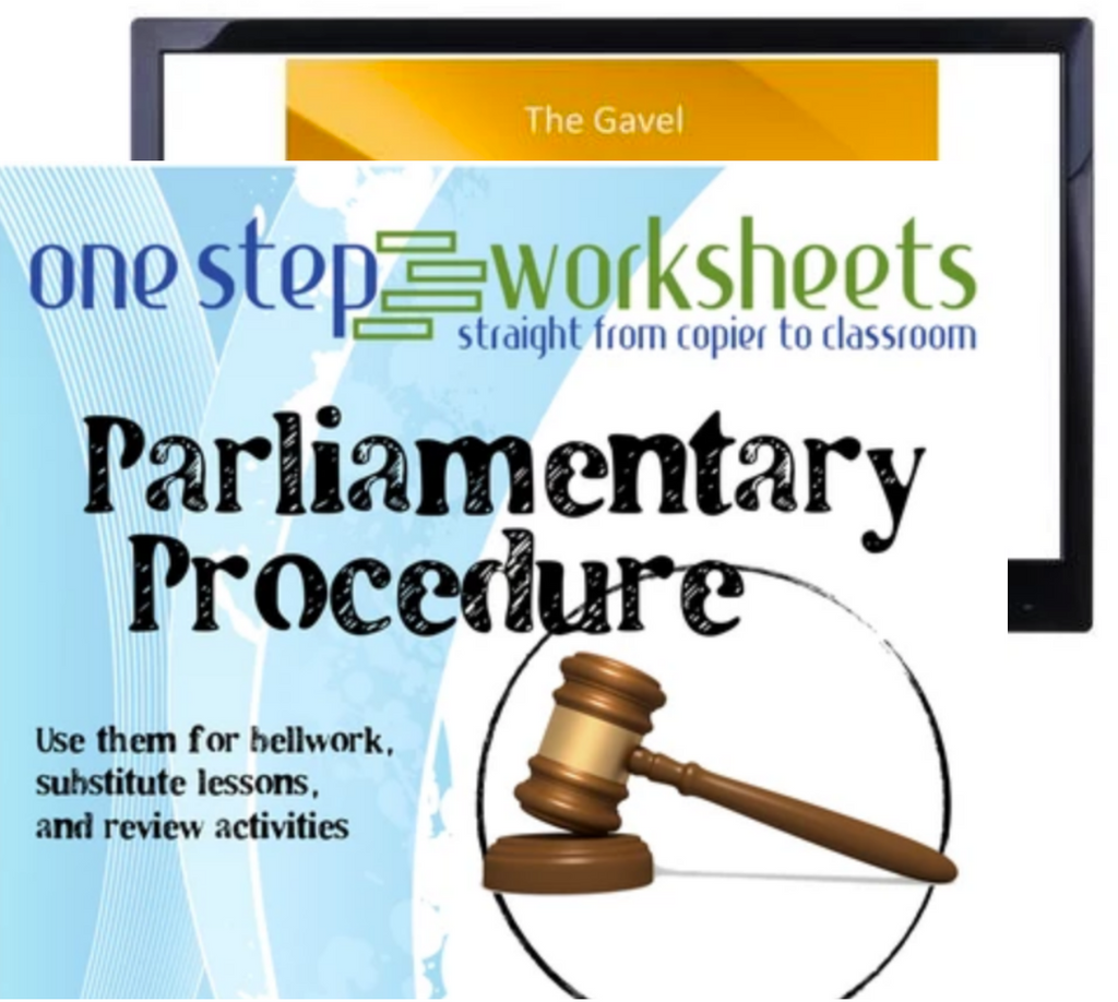 Parliamentary Procedure Package, PowerPoint & Worksheet Downloads