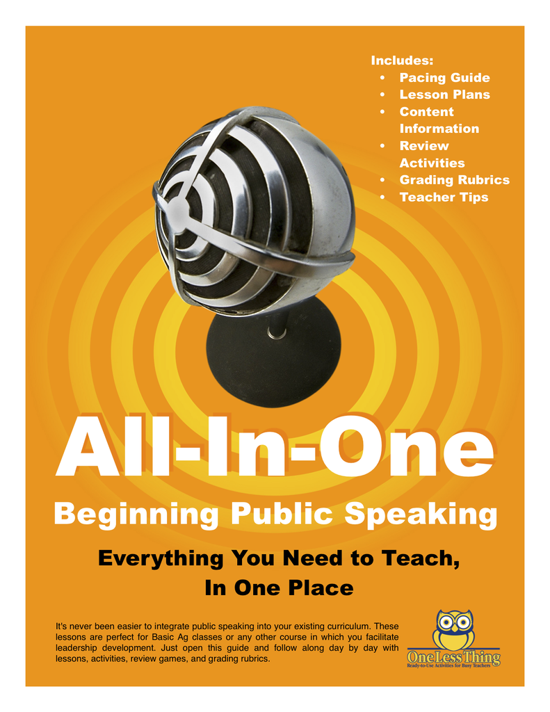 *Public Speaking in the Classroom, All-In-One Lesson Plans Download