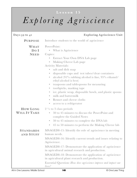 8-15 Exploring Agriscience, Lesson Plan Download