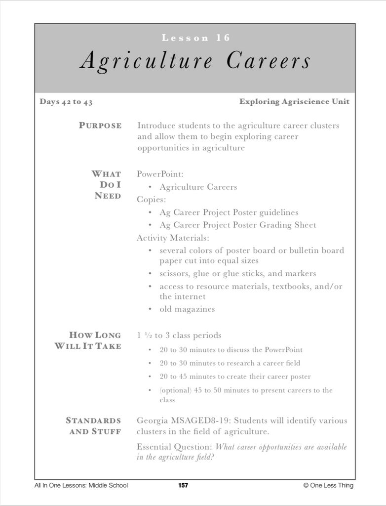 8-16 Ag Careers, Lesson Plan Download