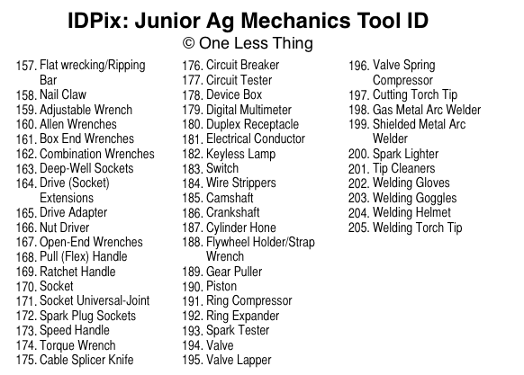 Junior Ag Mechanics Tool ID IDPix Downloads