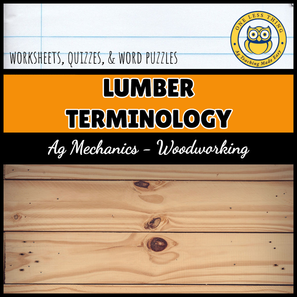 Lumber Terminology Worksheets, AgTivities