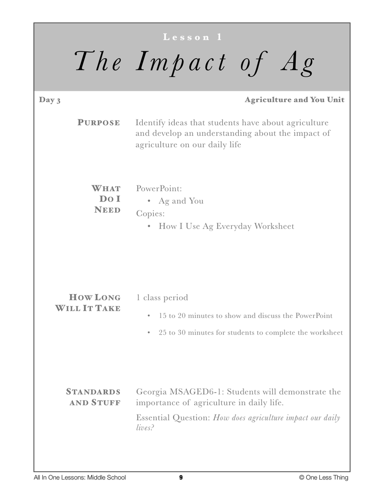 6-01 Impact of Ag, Lesson Plan Download