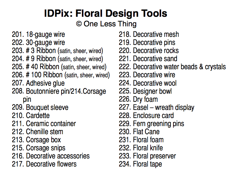 Floral Design Tools ID, IDPix Cards
