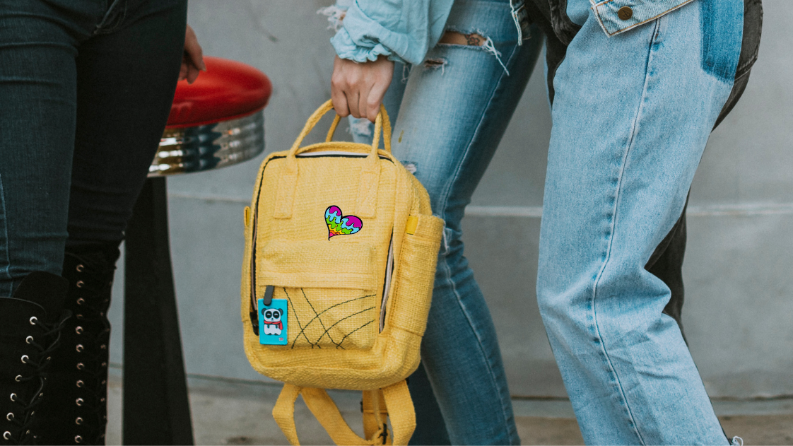 Cute Yellow Mini Backpack and colorful accessories
