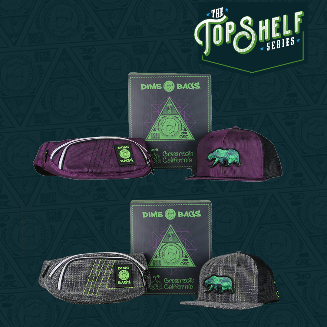 Top Shelf Dime Bags and Grassroots Fanny Pack and Hat Collab