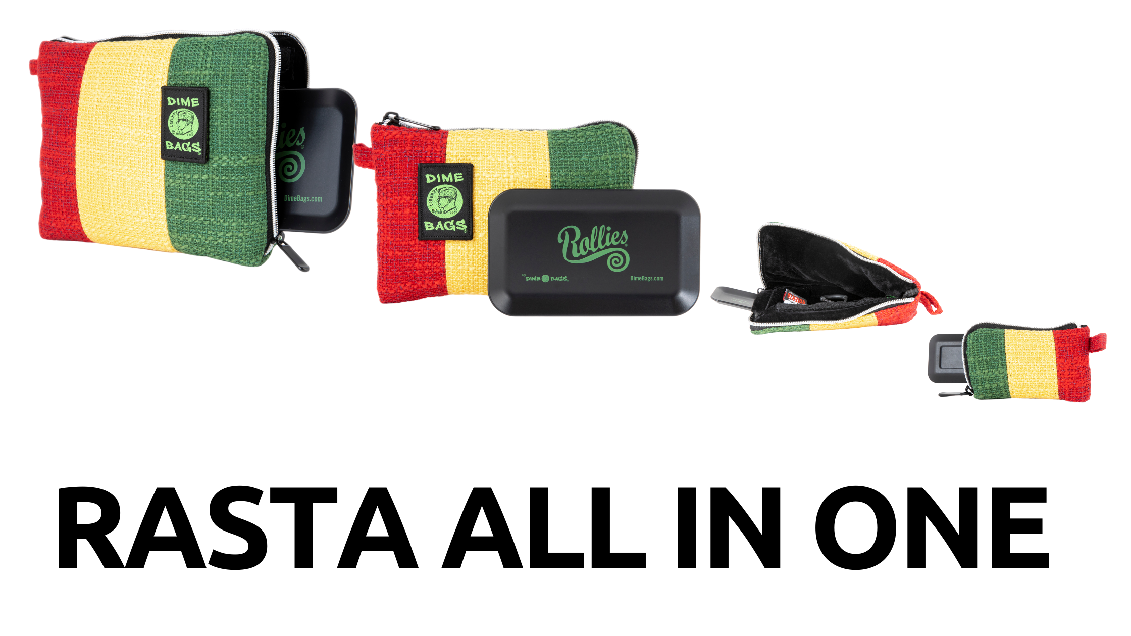 Rasta All In One | New Color | Dime Bags | Padded Pouch | Rasta