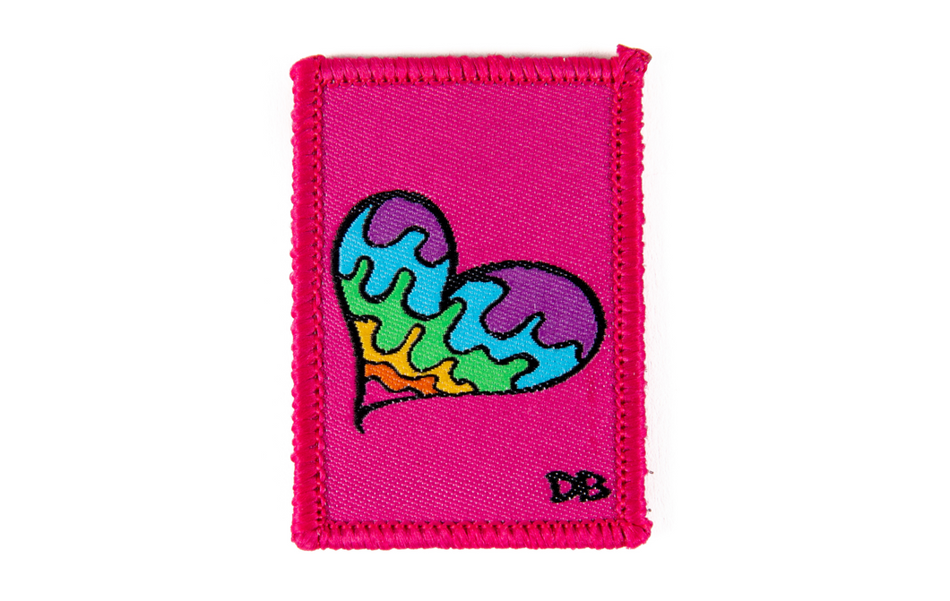 Ellie Paisley Heart | Dime Bags | Dimebag | Melting Heart | Patch | Removable Patch | Rainbow Heart | Rainbow Heart Patch