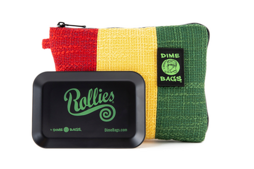 Dime Bags | All-In-One Padded Pouch | Hemp Pouch | Smell Proof Pocket | Carbon Activated Technology | Smell Proof | Rolling Tray | Hemp Pouch | Hemp | Protective Pouch | Protective Case | Padded Bag | Eco-Friendly Bag | Dimebags | Rasta Bag