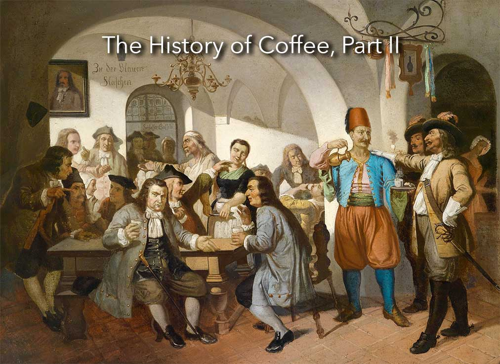 lead image for the history of coffee part II, a painting of the Blue Bottle Coffee House in Vienna